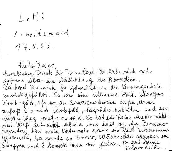 Bild von einem Beispiel Brief Arbeitsdienst