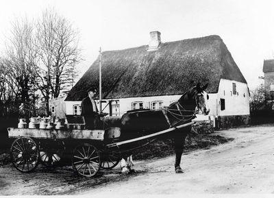 Milchwagen mit Kutscher Broder Asmussen
